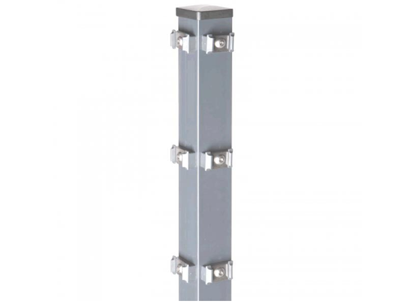 Zaunpfosten Doppelstabgitterzaun Eckpfosten Typ PM Silbergrau  - Länge: 2400 mm