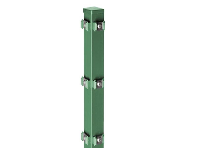 Zaunpfosten Doppelstabgitterzaun Eckpfosten Typ PM RAL 6005 moosgrün  - Länge: 2400 mm