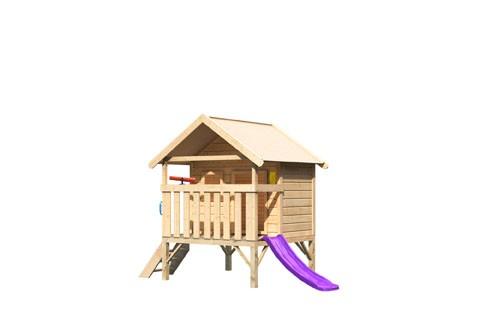 Akubi Mini Haus, mit violetter Rutsche klein, Handgriff. Telefon und Teleskop