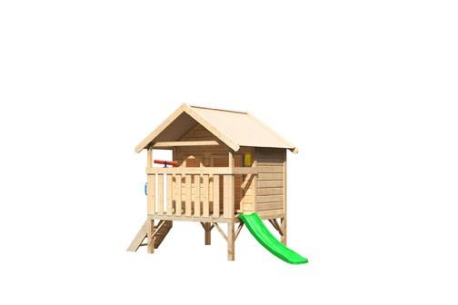 Karibu Mini Haus, mit grüner Rutsche klein, Handgriff. Telefon und Teleskop