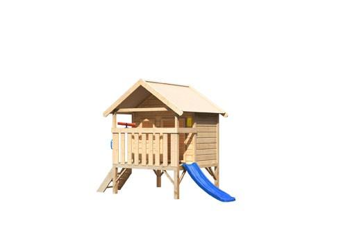 Akubi Mini Haus, mit blauer Rutsche klein, Handgriff. Telefon und Teleskop