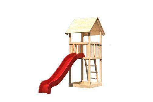Akubi Spielturm Lotti Satteldach + Rutsche rot