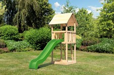 Akubi Spielturm Lotti Satteldach + Rutsche grün