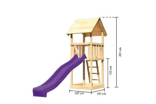 Akubi Spielturm Lotti Satteldach + Rutsche violett