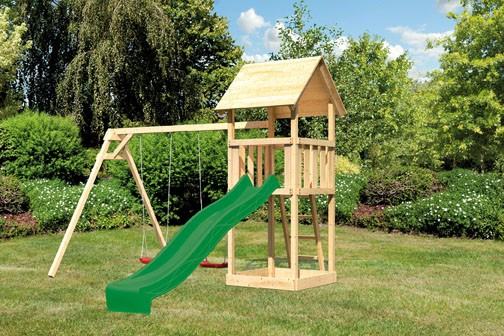 Akubi Spielturm Lotti Satteldach + Rutsche grün + Doppelschaukel