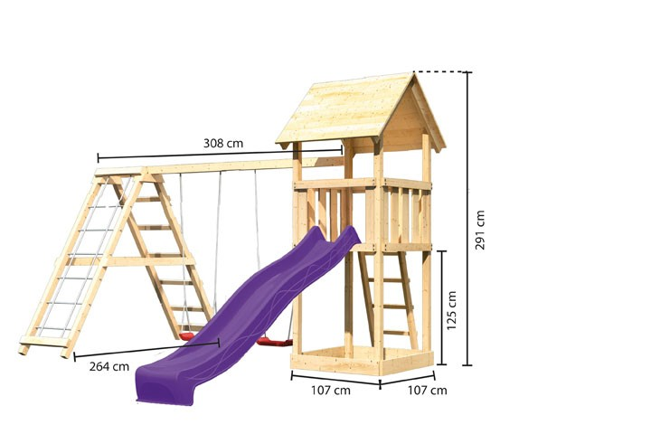 Karibu Spielturm Lotti Satteldach + Rutsche violett + Gerüst / Doppelschaukel