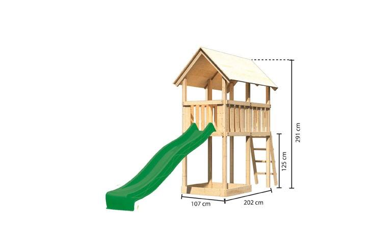 Akubi Spielturm Danny  Satteldach + Rutsche grün