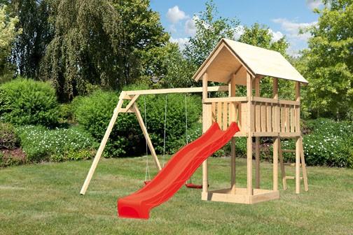 Akubi Spielturm Danny  Satteldach + Rutsche rot + Doppelschaukel