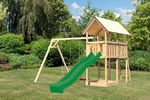 Akubi Spielturm Danny  Satteldach + Rutsche grün + Doppelschaukel