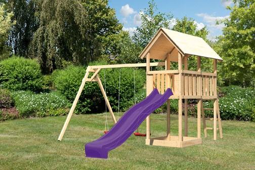 Akubi Spielturm Danny  Satteldach + Rutsche violett + Doppelschaukel
