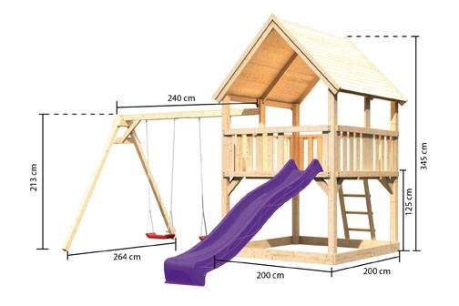 Akubi Spielturm Luis  Satteldach + Rutsche violett + Doppelschaukel