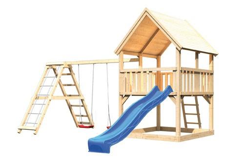 Akubi Spielturm Luis  Satteldach + Rutsche blau + Gerüst / Doppelschaukel