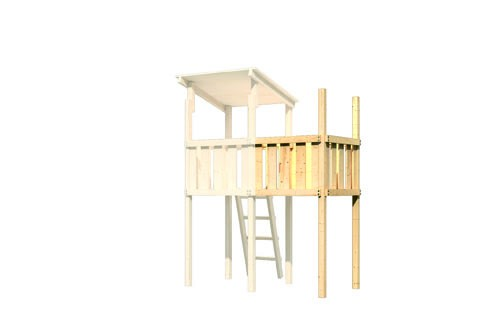 Akubi Spielturm Frieda mit Anbau  Satteldach + Rutsche violett