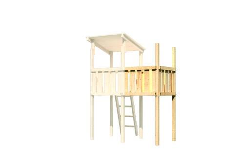 Akubi Spielturm Frieda mit Anbau  Satteldach + Rutsche rot + Gerüst / Doppelschaukel