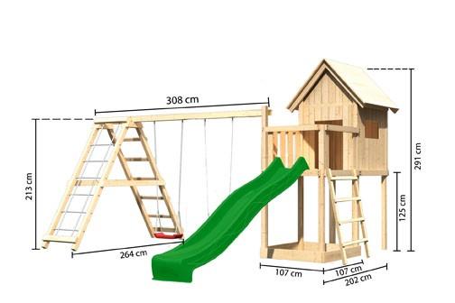 Karibu Spielturm Frieda mit Anbau  Satteldach + Rutsche grün + Gerüst / Doppelschaukel