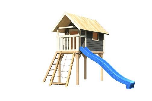 Akubi Stelzenhaus Gernegroß terragrau mit Rutsche blau und Netzrampe
