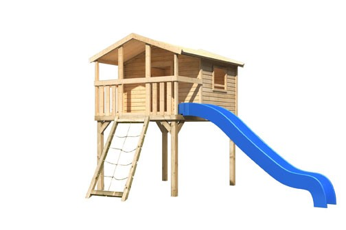Akubi Stelzenhaus Benjamin mit Rutsche blau und Netzrampe (Naturbelassen)