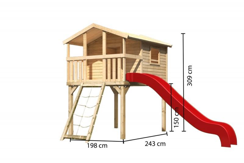 Karibu Stelzenhaus Benjamin mit Rutsche rot und Netzrampe (Naturbelassen)