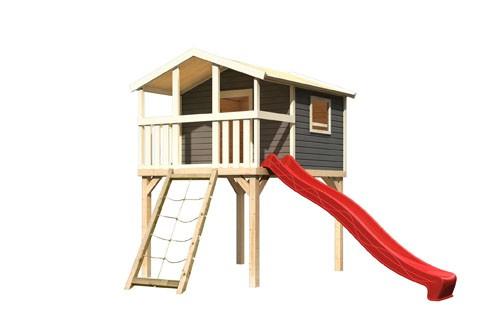 Akubi Stelzenhaus Benjamin mit Rutsche rot und Netzrampe (Seidengrau)