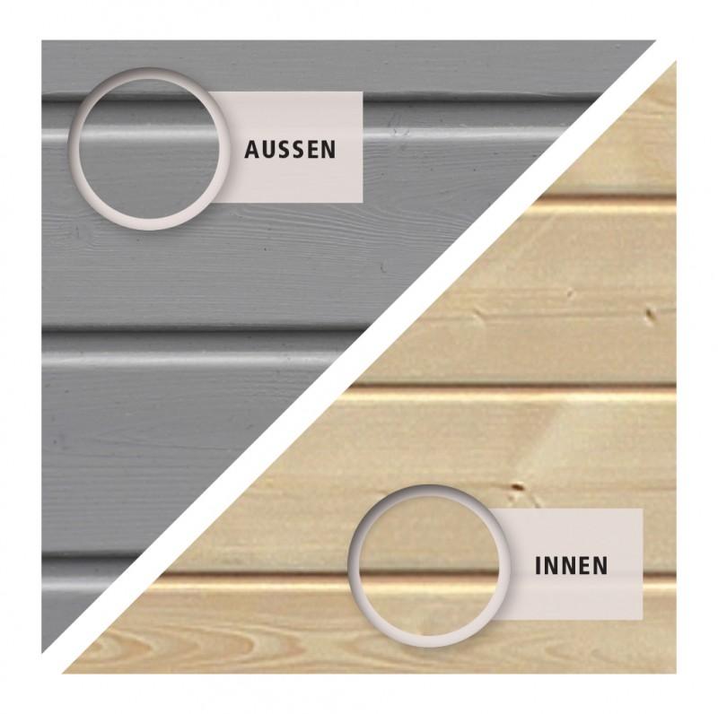 Woodfeeling Holz Gartenhaus Askola 2 im Set mit Anbaudach 2,40 m Breite - 19mm Flachdach - Farbe: seidengrau