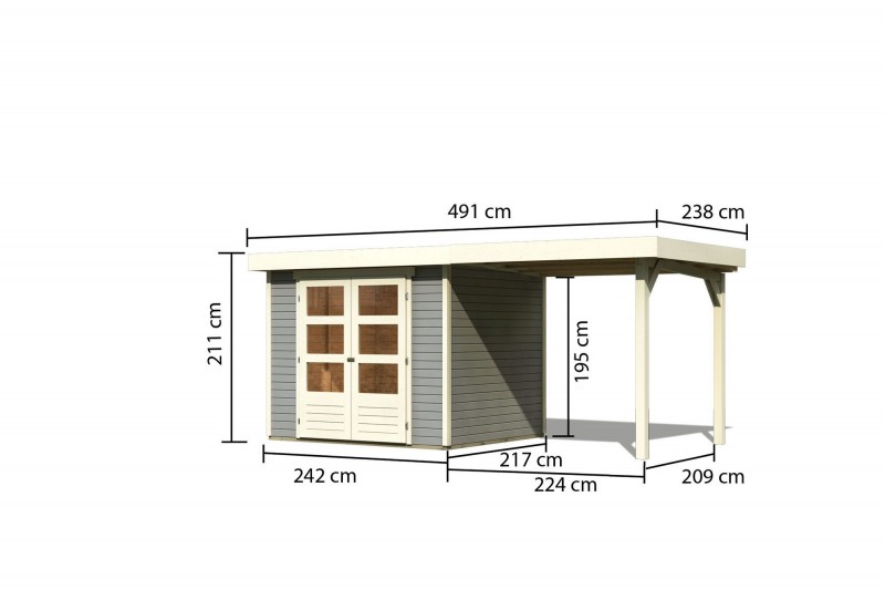 Woodfeeling Holz Gartenhaus Askola 3  im Set mit Anbaudach 2,40  m Breite - 19mm Flachdach - Farbe: seidengrau