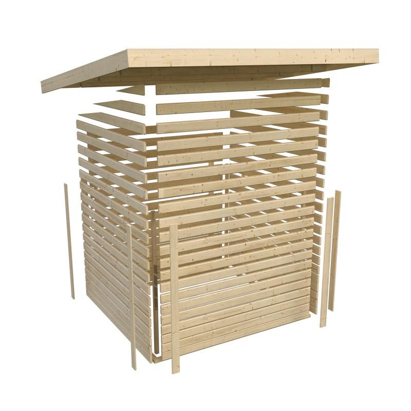 Woodfeeling Holz Gartenhaus Askola 4  im Set mit Anbaudach 2,40 m Breite und 19 mm Seiten- Rückwand - 19mm Flachdach - Farbe: terragrau