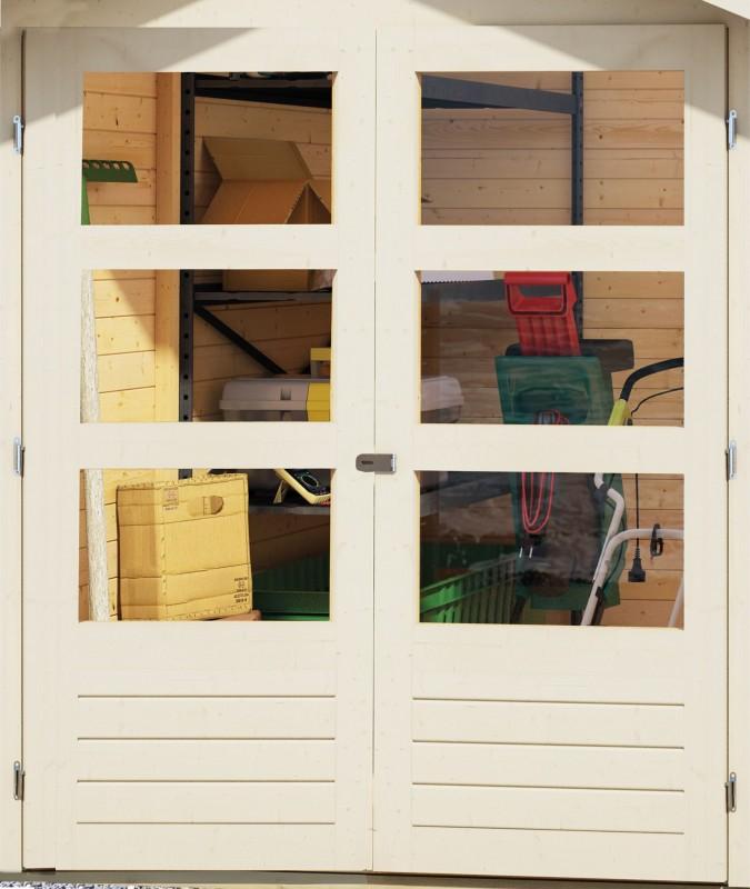 Woodfeeling Holz Gartenhaus Askola 2 im Set mit Anbaudach 2,80 m Breite - 19mm Flachdach - Farbe: seidengrau