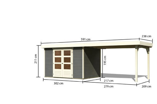 Woodfeeling Holz Gartenhaus Askola 4  im Set mit Anbaudach 2,80  m Breite - 19mm Flachdach - Farbe: terragrau