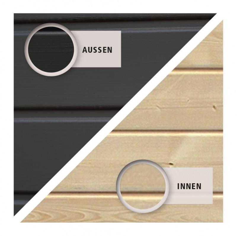 Woodfeeling Holz Gartenhaus Askola 4  im Set mit Anbaudach 2,80 m Breite und 19 mm Seiten- Rückwand - 19mm Flachdach - Farbe: terragrau