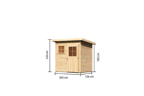 Woodfeeling Holz Gartenhaus Oranienburg 2 - 19mm Flachdach - Farbe: naturbelassen