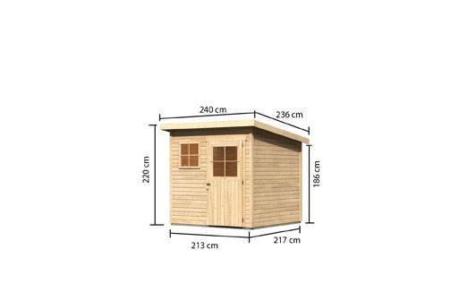 Woodfeeling Holz Gartenhaus Oranienburg 3 - 19mm Flachdach - Farbe: naturbelassen