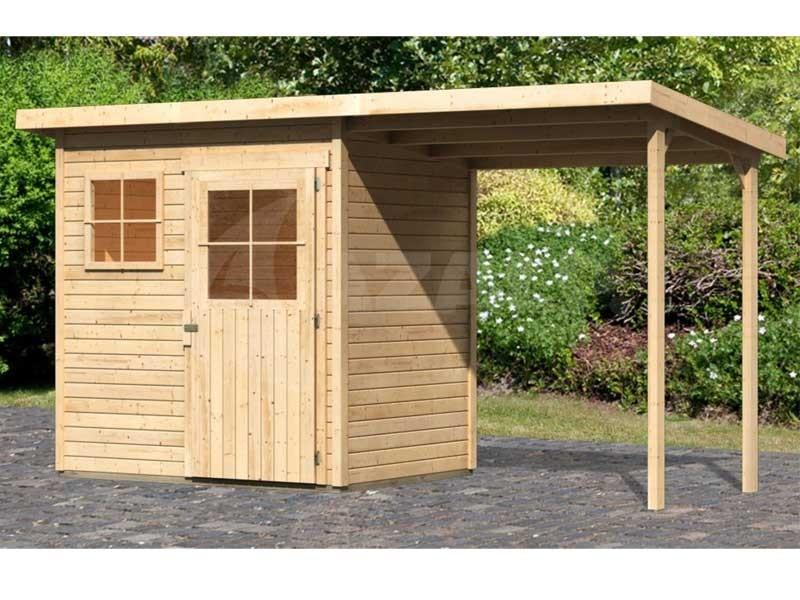 Woodfeeling Holz Gartenhaus Oranienburg 2 im Set mit Anbaudach - 19mm Flachdach - Farbe: naturbelassen