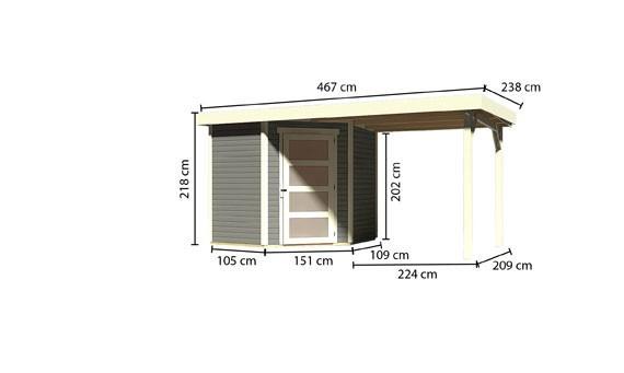 Woodfeeling Holz Gartenhaus Schwandorf 3 im Set mit Anbaudach 2,40 m Breite - 19mm 5-Eckhaus - Farbe: seidengrau