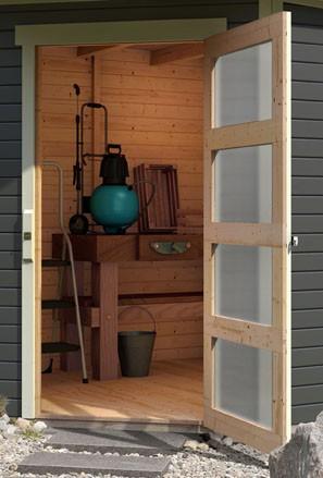 Woodfeeling Holz Gartenhaus Schwandorf 5 im Set mit Anbaudach 2,40 m Breite - 19mm 5-Eckhaus - Farbe: seidengrau