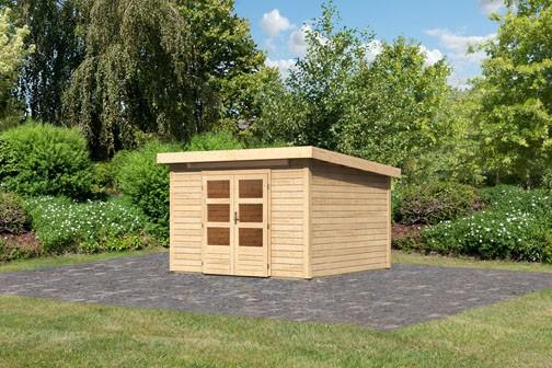 Woodfeeling Holz Gartenhaus Kandern 6,5 - 28mm Pultdach - Farbe: naturbelassen