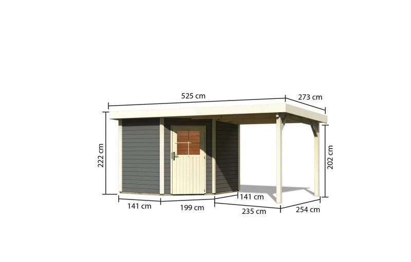 Woodfeeling Holz Gartenhaus Neuruppin 2 im Set mit einem Anbaudach Breite 2,4 m - 28mm Pultdach - Farbe: terragrau