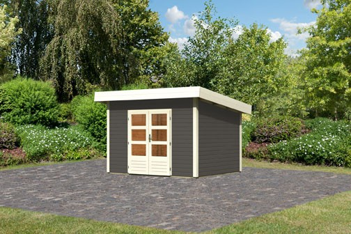 Woodfeeling Holz Gartenhaus Northeim 2 - 38mm Pultdach - Farbe: terragrau
