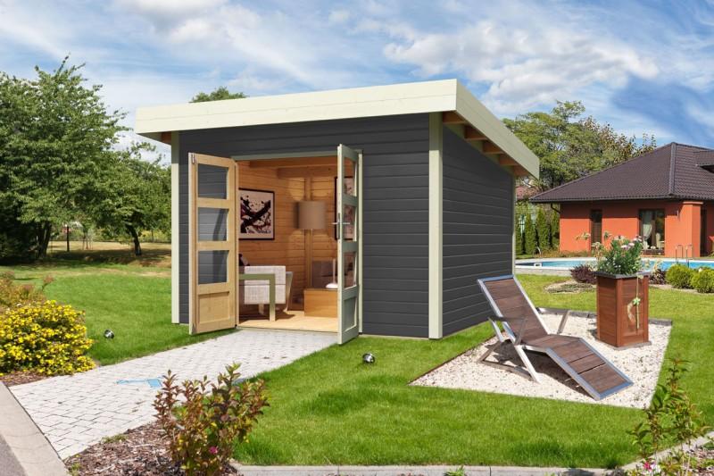 Woodfeeling Holz Gartenhaus Northeim 4 - 38mm Pultdach - Farbe: terragrau