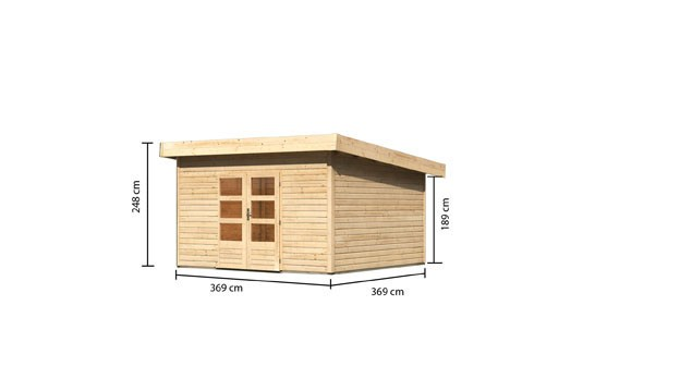 Woodfeeling Holz Gartenhaus Northeim 5 - 38mm Pultdach - Farbe: naturbelassen