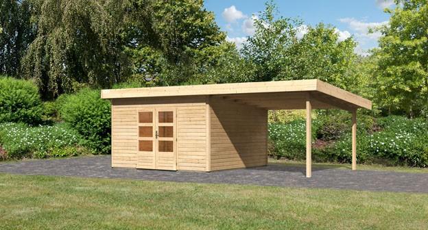 Woodfeeling Holz Gartenhaus Northeim 5 im Set mit einem Anbaudach Breite 3,3 m - 38mm Pultdach - Farbe: naturbelassen