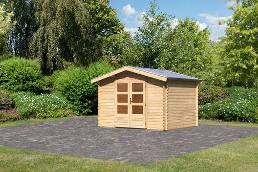 Woodfeeling Holz Gartenhaus Bayreuth 3 - 28mm Blockhaus Satteldach - Farbe: naturbelassen