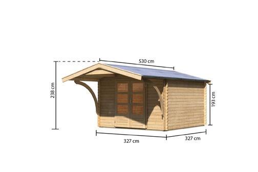 Woodfeeling Holz Gartenhaus Bayreuth 4 inkl. Vordach - 28mm Blockhaus Satteldach - Farbe: naturbelassen
