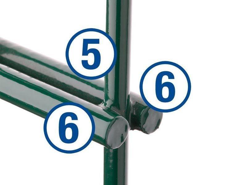 Doppelstabgitterzaun Metallzaun 6/5/6 MORITZ RAL 6005 moosgrün - Höhe: 1430 mm