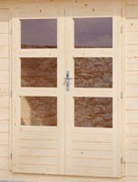 Woodfeeling Holz Gartenhaus Bayreuth 5 inkl. Vordach und Terrasse - 28mm Blockhaus Satteldach - Farbe: naturbelassen