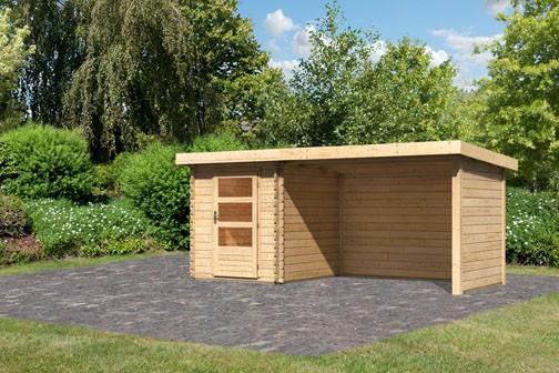 Woodfeeling Holz Gartenhaus Bastrup 1 im Set mit Anbaudach 3 m breit, 28 mm Seiten - und Rückwand - 28mm Blockhaus Pultdach - Farbe: naturbelassen
