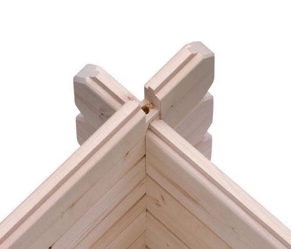 Woodfeeling Holz Gartenhaus Bastrup 2 im Set mit Anbaudach 3 m breit, 28 mm Seiten - und Rückwand - 28mm Blockhaus Pultdach - Farbe: naturbelassen
