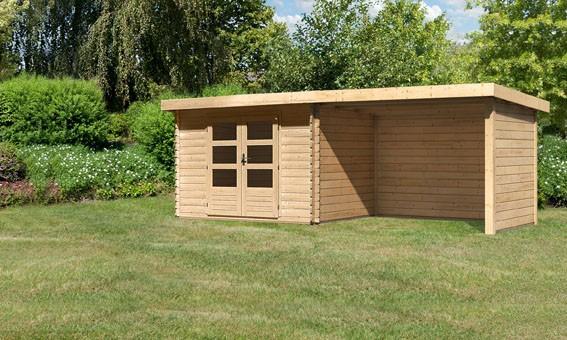 Woodfeeling Holz Gartenhaus Bastrup 3 im Set mit Anbaudach 3 m  breit, 28 mm Seiten - und Rückwand - 28mm Blockhaus Pultdach - Farbe: naturbelassen