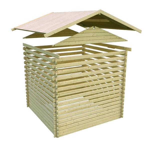 Woodfeeling Holz Gartenhaus Meldorf 4 - 38mm Blockhaus Satteldach - Farbe: naturbelassen