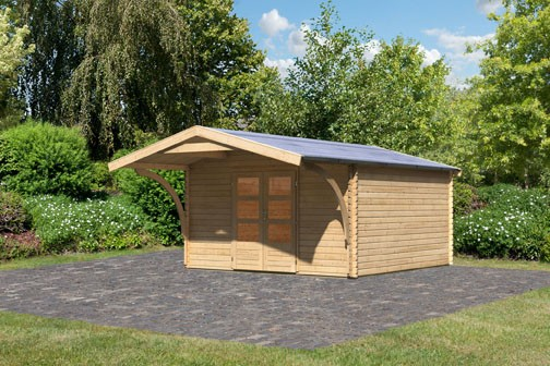 Woodfeeling Holz Gartenhaus Meldorf 6 inkl. Vordach - 38mm Blockhaus Satteldach - Farbe: naturbelassen