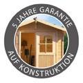 Woodfeeling Holz Gartenhaus Meldorf 5 inkl. Vordach und Terrasse - 38mm Blockhaus Satteldach - Farbe: naturbelassen